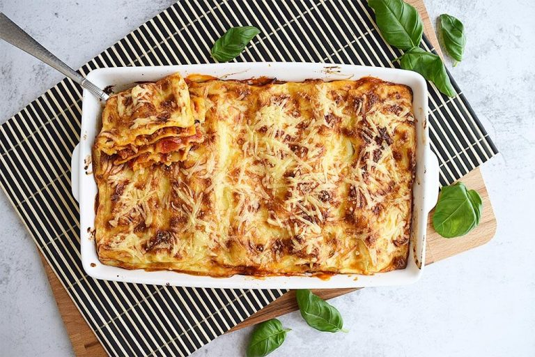 Lasagne met gehakt en gegrilde groenten